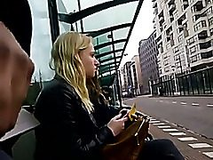 Demonstrating my dick in public bus stop
