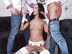 Tantalizing Brunette Angie Moon Has All Three Fuck holes Used by 2 Horny Boys