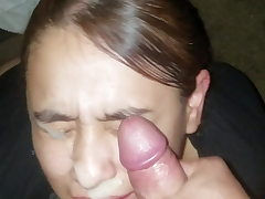 Luxurious girl can't stop grinning while she gets a huge facial