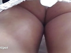 Upskirt - Sexy white panty with big-boobed ass