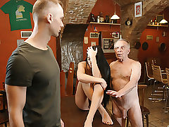 DADDY4K. Old dad lures stellar brunette while son left..