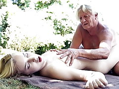 Foreign college college girl rails grandfathers cock deepthroats it good