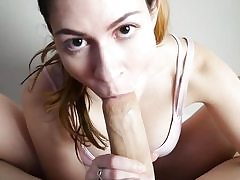 Footjob point of view bj in front of cam by a sexy babe
