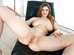 Teen female solo banging her pussy with a crimson nasty dildo