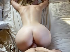 Super hot platinum-blonde college girl romped rear end-fashion and thight vagina filled up with jizm like a real fuckdoll mega-biotch
